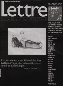 Cover Lettre International 34, Joseph Kosuth
